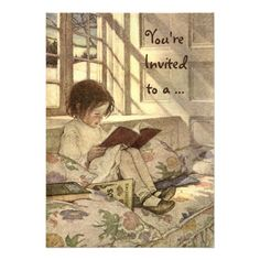 Vintage Child Reading a Book Birthday Party Personalized Invites