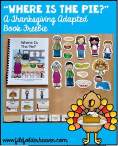 """This Thanksgiving Adapted Book, """"Where is the Pie?"""" is super-fun and interactive Thanksgiving story that focuses on basic Thanksgiving themed vocabulary, matching skills, position words, Wh-questions, and sequencing story events. Download it for free until November 30, 2015."""