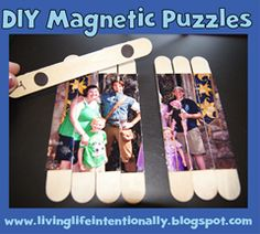 DIY Magnetic Popsicle Stick Photo Puzzle = Put glue on the back of a picture then place the sticks down side by side. Let it dry and then separate them with a craft knife.