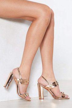 25f3a85083d Nasty Gal Dancing Metallic Heel Rose Gold High Heels
