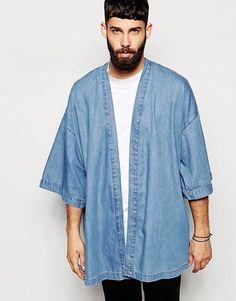 Buy ASOS Denim Kimono Jacket at ASOS. Get the latest trends with ASOS now. Male Kimono, Kimono Jacket, Kimono Cardigan, Kimono Style, Smart Casual, Indian Men Fashion, Mens Fashion, Style Urban, Kimono Fashion