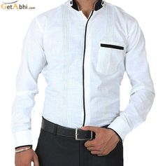 Make a Different style statement when you wear this black/white color #party #wear cotton #shirt from the shelter of Siera, this slim-fit shirt ascertains light weight comfort all day, wear it with blue color lycra jeans to complete your evening look.