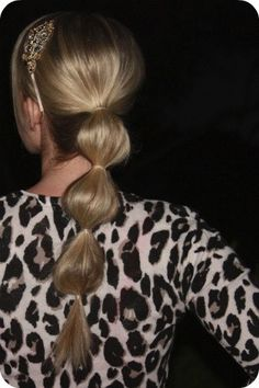 Cute Bubble Ponytail.  I, Brenda, used to do this to my hair in middle school.
