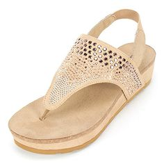White Mountain Women's Safari Wedge Sandal, C…
