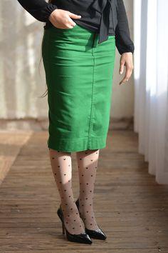 Kelly Green Colored Denim Skirt - Jade Mackenzie Modest Apparel