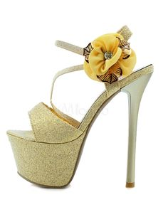Big Flower Gold PU Leather High Heel Dress Sandals- Milanoo.com