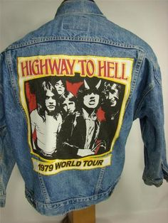 """BAREFOOT VINTAGE ORIGINAL AC DC HIGHWAY TO HELL 1979 WORLD TOUR JEAN JACKET #284  $100.00 """"SOLD"""""""