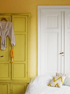 amanda-rodriguez-styling-yellow-walls via sfgirlbybay Painted Interior Doors, Painted Armoire, Painted Furniture, Furniture Nyc, Large Furniture, Painted Wood, Casa Hygge, Turbulence Deco, Small Space Solutions