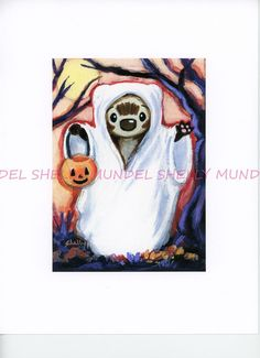 "Art by Shelly Mundel. Ferret People ""Haunted Forest""  5x7 inch Canvas Cloth #OutsiderArt"