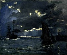 Claude Monet (French, Impressionism, 1840-1926): A Seascape, Shipping by Moonlight; 1864. Oil on canvas, 60 x 73.8cm (23.6 x 29 inches). Scottish National Gallery, Edinburgh, Scotland, UK.