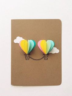 This Couple Heart Hot Air Balloon Card (rainbow) is just one of the custom, handmade pieces you'll find in our love cards shops. Birthday Crafts, Mom Birthday Gift, Happy Birthday Cards, Birthday Presents, Free Birthday, Birthday Bash, Balloon Gift, Hot Air Balloon, Presents For Women