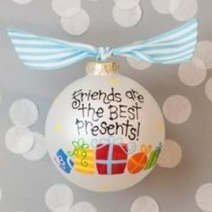 Celebrate the gift of friendship with our Friends Are The Best Presents Ornament. Colorful presents and playful polka dots adorn this endearing ornament. Each ornament is perfectly packaged with a matching gift box and coordinating tied ribbon for easy gift giving and safe storage.