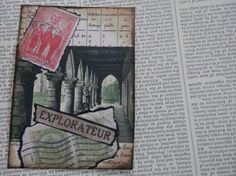 ACEO ATC one-of-a-kind Original EXPLORATEUR by PaperPastiche