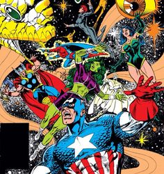 Avengers in '91: Captain America, Thor, She-Hulk, Vision, Black Widow, Quasar and Sersi (1991 - Avengers #329)