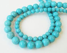 Blue Turquoise Howlite Round Beads 8mm 15 inch by BijiBijoux, $9.00