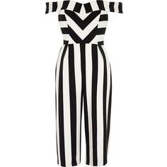 41a163430c5d River Island Petite black stripe bardot culotte jumpsuit ( 140) ❤ liked on Polyvore  featuring