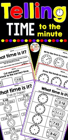 This packet includes telling time to the minute worksheets that are perfect for learning and practicing. This resource includes a variety of activities. Correct Time, Math Problems, Digital Clocks, The Minute, Cut And Paste, Telling Time, Task Cards, Classroom Management, Teaching Resources