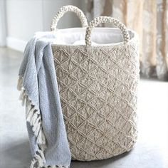 We can't tell you enough how amazing this reef knot macrame basket is in its attention to detail and texture.