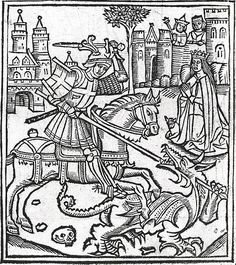 Woodcut frontispiece showing Saint George slaying the dragon, from the Life of St George by Alexander Barclay, 1515,