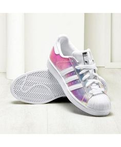 hot sale online 4d797 5cbbd Adidas Women Superstar White and Blue Flower Stripes