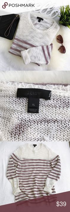 J. Crew loose knit striped mohair blend sweater New, but no longer has J. Crew price tags attached (still has plastic tag hanger) Slightly oversized fit Stripe is a mauve brown color Please Review all photos thoroughly  Feel free to ask questions.  🚫trades 🚫modeling requests 👍🏻Reasonable offers welcome! J. Crew Sweaters Crew & Scoop Necks