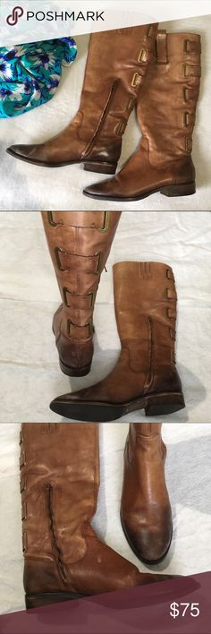"""Arturo Chiang Enchaw boot - Almond toe - Side engraved buttons - Partial side zip closure  - Back goring detail - Stacked heel - Approx. 14"""" shaft height, 17"""" opening circumference - Approx. 1"""" heel, 0.5"""" platform - Imported Materials Leather upper, manmade sole Arturo Chiang Shoes Heeled Boots"""