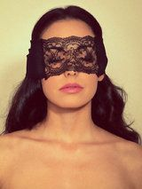 Coco de Mer Black Chiffon and Lace Blindfold