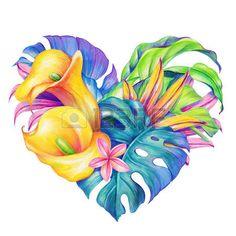 Тропические цветы сердце, Валентина день карты, иллюстрации акварель photo