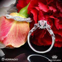Verragio Twisted Shank 3 Stone Diamond Engagement Ring with Braided Diamond Wedding Ring.