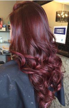 Beautiful healthy hair color with olaplex bond builder bright red hair, long hair, curls, dark red hair, red highlights, balayage, purple red hair, hair color ideas