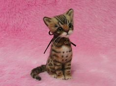 Needle Felted Cute Bengal Kitten Miniature by LilyNeedleFelting, ¥42000