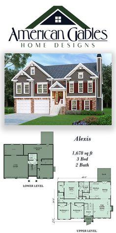 Split Foyer House Plan: 1,678 square feet, 3 bed, 2 bath, Alexis #HousePlans