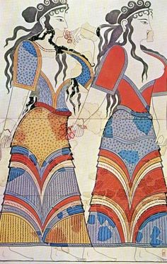 Pre-Alexandrian Greece--- Depiction of Minoan women. the Minoans would later fall and collapse around 1400 B. Greek History, Ancient History, Art History, History Class, Creta, Ancient Greek Art, Ancient Greece, Fresco, Minoan Art
