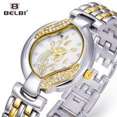$14.99 Belbi Top Brand Quartz Women Watch Fashion Leaf Style Steel Female Watches Ladies Gold Dress Waterproof Rhinestone Relojes #Quartz #Watch #Fashion #Leaf #Style #Female #Gold #Waterproof #Relojes