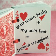 "Valentines Day - hearts - love - ""52 Reasons Valentine Deck of Cards"""