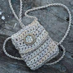 Urbane - A Handmade Spirit Pouch with a Vintage 1960s Button | walkinthewoodsllc - Crochet on ArtFire