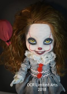 """The Pennywise """"IT"""" inspired Doll stands tall and wide arm span. The baby doll is posable with moving arm and leg ball joints. Halloween Party Themes, Halloween Doll, Outdoor Halloween, Halloween 2020, Halloween Crafts, Halloween Ideas, Halloween Decorations, Creepy Baby Dolls, Monster Dolls"""