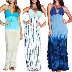 BEACH GYPSY Boho Crochet Ombre Tie Dye Halter Maxi Dress - Cover Up 3 Colors S-L #ByTheSea #FlowyCrochetHalterBeachDressMaxi #SummerBeach