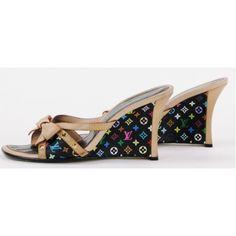 Louis Vuitton Black Multicolore Monogram Slide Wedges