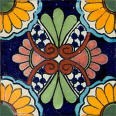 """Mexican tiles in """"Ecatepec"""" style. Colonial with yellow, green and terra cotta clay tile design over dark blue background. Shipping from Mexico to the US and Canada is estimated for four weeks. Mexican Art, Mexican Tiles, Mexican Ceramics, Clay Tiles, Dark Blue Background, Tile Patterns, Wall Colors, Light In The Dark, Pottery"""