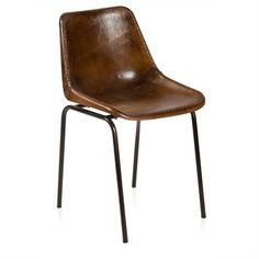 Fabio Aged Leather Dining Chair - Aged Brown