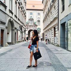 Classic Denim Jacket on my waist, Res Denim Shorts – similar, Chanel Espadrilles                             www.songofstyle.com