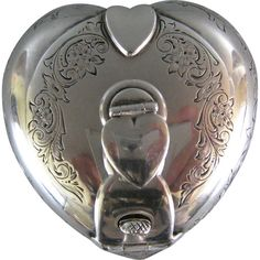 Antique Sterling Silver Traveling Inkwell c.1900 Gorham Heart Shape