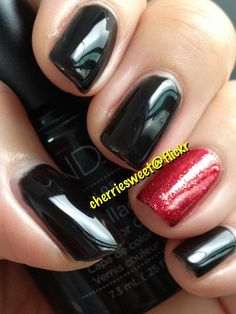 CND Shellac Black Pool (Accent Rockstar nail: MS red glitter over Red Baroness)
