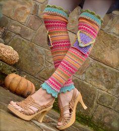 funky URBAN ROMANCE colorful leg WARMERS with pockets par GPyoga