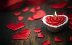 Download wallpapers Valentines Day, red satin hearts, burning candle, romance, love concepts, candle heart