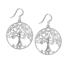 Southern Gates Sterling Silver Round Southern Oak Tree Earrings -  i have the pendant, so i need these earrings!