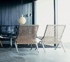 Braided halyard chairs by Poul Kjaerholm...and yes, they are comfortable