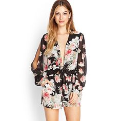 2026ba9e67 Forever21 Floral Cutout   Tie Front Romper Cute Rompers