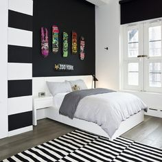 I'd get a room like this. Maybe different colours tho. And instead of skateboard decks, a huge collection of Snapbacks